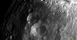 Close-up View of 'Snowman' Craters, Vesta.