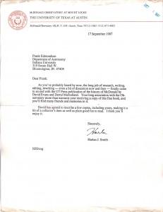 Letter to Frank Edmondson