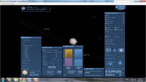 Screen shot, Eyes on the Solar System, showing menus maximized