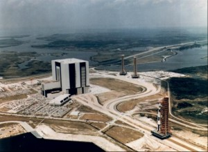 The First Saturn V Rollout, From the VAB, 25 May 1966. Photo credit: NASA