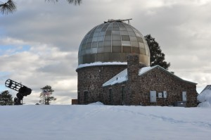 Atmospheric Research Observatory in the snow, Flagstaff, AZ, 2010. Photo courtesy NAU Observatory.