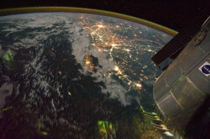 Night view of India-Pakistan borderlands (NASA, International Space Station, 08/21/11). Photo credit: NASA