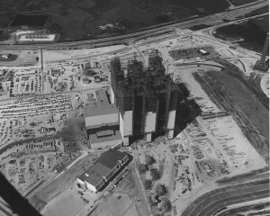 VAB under construction, August 1965. Photo credit: NASA/KSC
