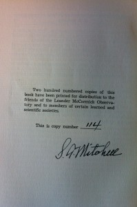 S. A. Mitchell's signature, back page of handbook.