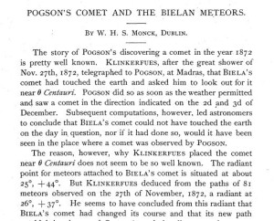 "W. H. S. Monck, ""Pogson's Comet and the Bielan Meteors,"" Publications of the Astronomical Society of the Pacific, Vol. 4, No. 21 (1892), p.19."