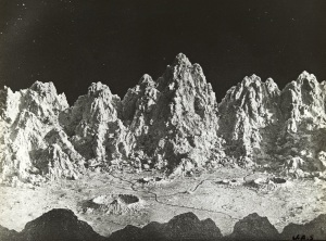 Black and white photo of jagged landscape features