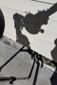 Here, the optical tube is casting a nice, circular shadow. This tells me that my scope is lined up well with the Sun.
